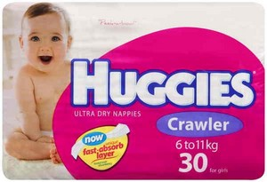 Huggies Nappies Crawler Girl 30 Pack