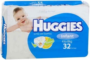 Huggies Nappies Infant Boy 32 Pack
