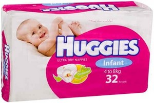 Huggies Nappies Infant Girl 32 Pack